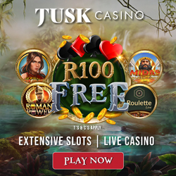Get R100 Free at Tusk Casino